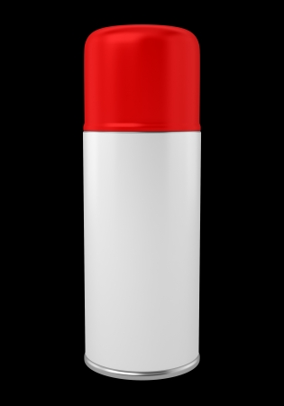 red spray can isolated on black background photo