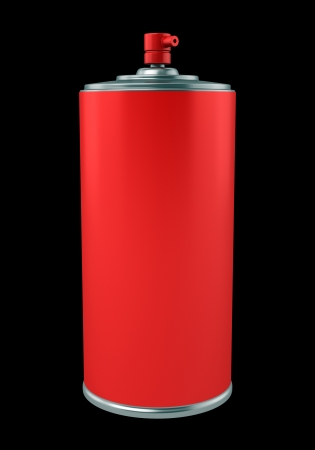red paint spray can isolated on black background Stock Photo - 21129581