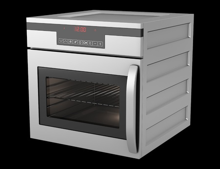 modern built-in oven isolated on black background photo