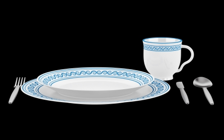 table setting with cup isolated on black background photo