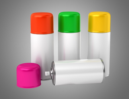 color spray cans isolated on gray background Stock Photo - 21129659