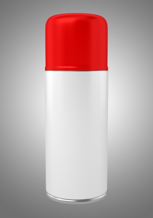 red spray can isolated on gray background Stock Photo - 21129661
