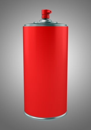 red paint spray can isolated on gray background photo