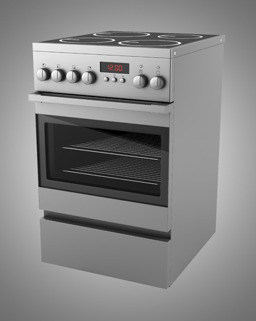 modern electric stove isolated on gray background photo
