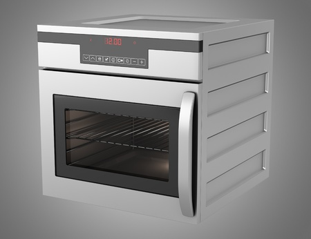 modern built-in oven isolated on gray background photo
