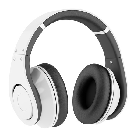 흰색 배경에 고립 된 흰색과 검은 색 무선 헤드폰