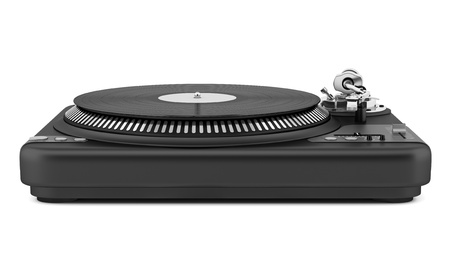 turntables: black turntable isolated on white background Stock Photo