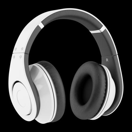 equipo de sonido: auriculares inalámbricos blanco y negro aislado en el fondo negro Foto de archivo