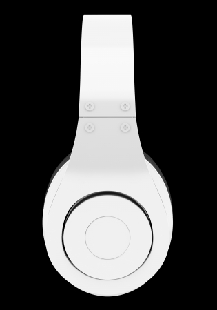 side view of white and black wireless headphones isolated on black background Stock Photo - 21222766