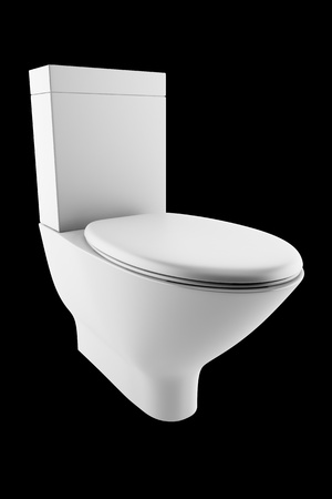 toilet bowl: white toilet bowl isolated on black background