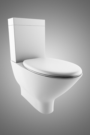 toilet bowl: white toilet bowl isolated on gray background  Stock Photo
