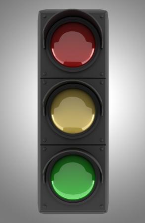 semaphore: traffic light isolated on gray background