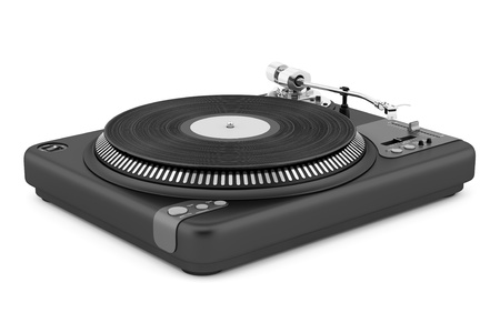 black turntable isolated on white background photo