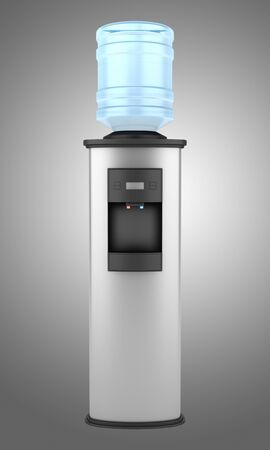 modern metallic water cooler isolated on gray background photo