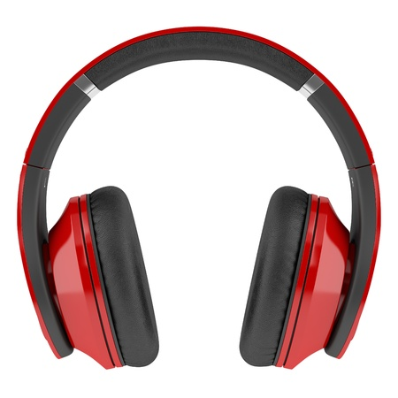 red and black wireless headphones isolated on white background Stock Photo - 21362344