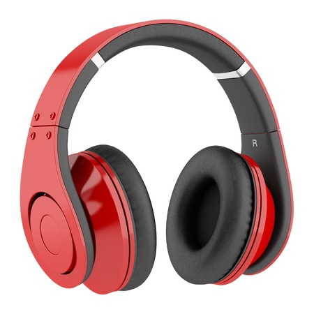 headphones: red and black wireless headphones isolated on white background