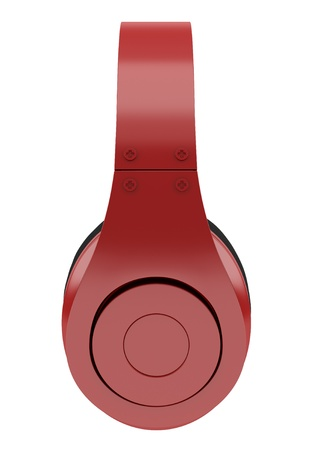 side view of red and black wireless headphones isolated on white background Stock Photo - 21362346