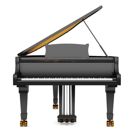 black grand piano isolated on white background photo