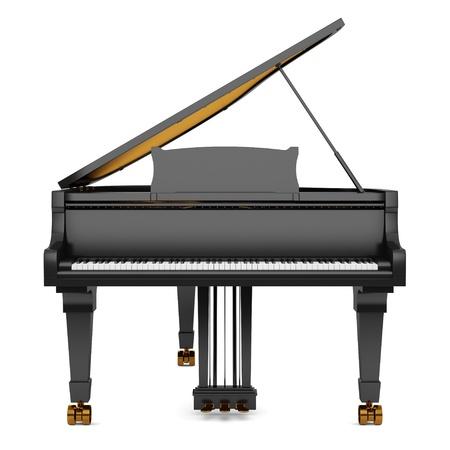 piano: piano de cola negro sobre fondo blanco Foto de archivo