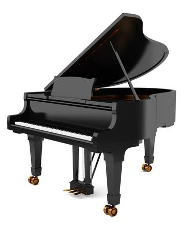 piano de cola: piano de cola negro sobre fondo blanco Foto de archivo