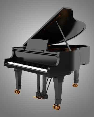 black grand piano isolated on gray background photo
