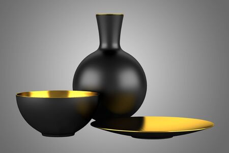 black vase with bowls isolated on gray background photo
