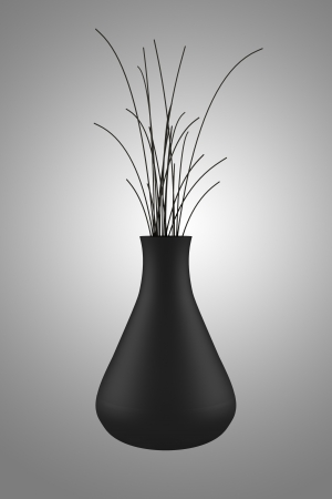 black vase with dry wood isolated on gray background photo