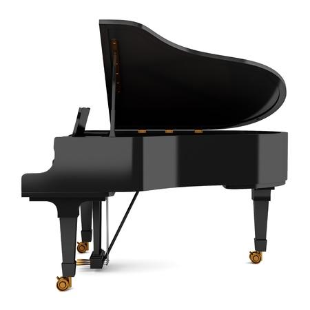grand piano: vista lateral del piano de cola negro sobre fondo blanco