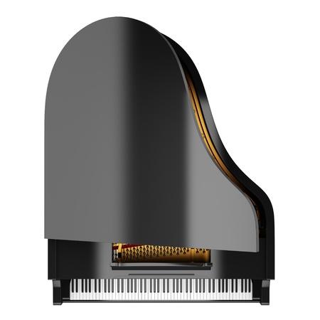 grand piano: vista desde arriba del piano de cola negro sobre fondo blanco