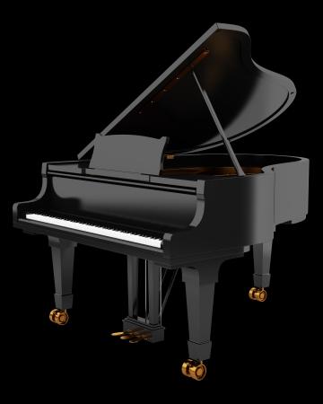 black grand piano isolated on black background photo