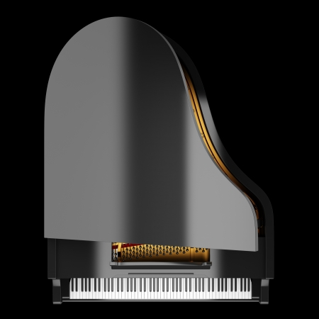 top view of black grand piano isolated on black background photo