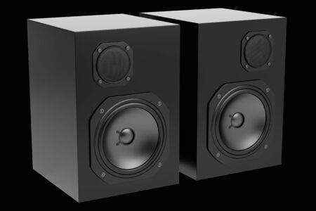 two black audio speakers isolated on black background Stock Photo - 21473129