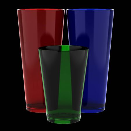 Three Color Glass Vases Isolated On Black Background Stock Photo