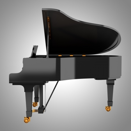 grand piano: vista lateral del piano de cola negro sobre fondo gris