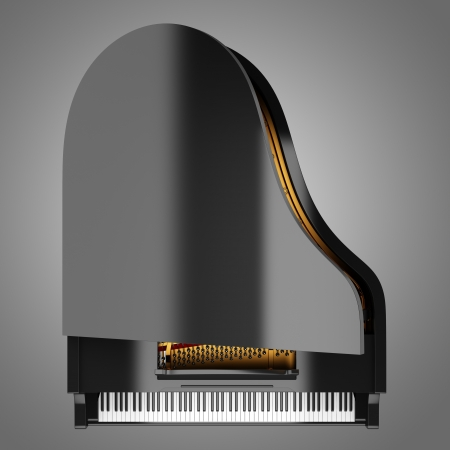 grand piano: top view of black grand piano isolated on gray background
