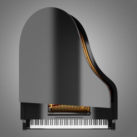 piano de cola: vista desde arriba del piano de cola negro sobre fondo gris Foto de archivo