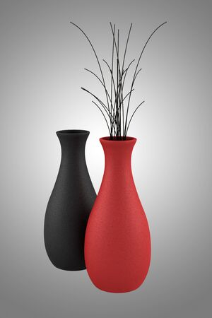 vases with dry wood isolated on gray background photo