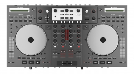 dj mixer: top view of dj mixer controller isolated on white background