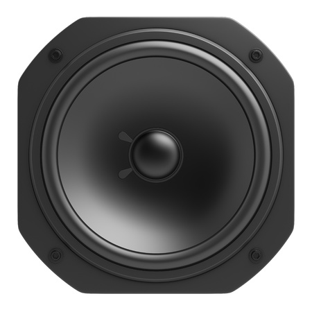black loudspeaker isolated on white background photo