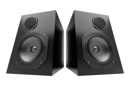 two black audio speakers isolated on white background photo