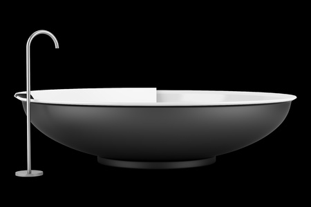 modern black round bathtub isolated on black background photo