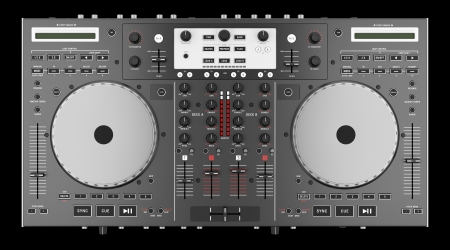 top view of dj mixer controller isolated on black background