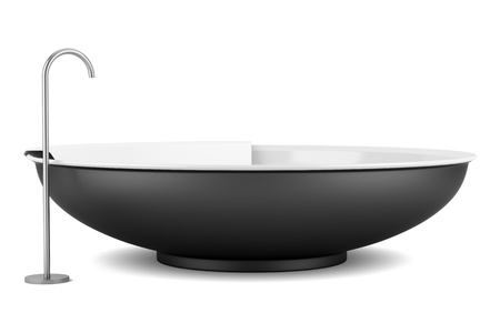 modern black round bathtub isolated on white background photo
