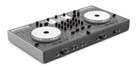 흰색 배경에 고립 된 검은 DJ 믹서 컨트롤러
