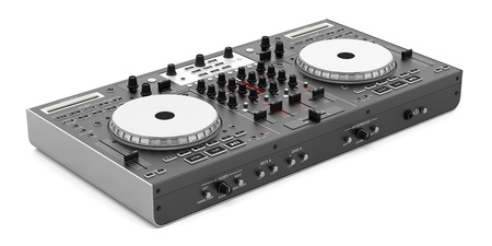 black dj mixer controller isolated on white background Standard-Bild