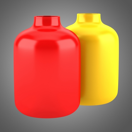 Two Red And Yellow Ceramic Vases Isolated On Gray Background Stock