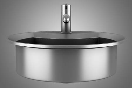modern metal sink isolated on gray background Stock Photo - 21917111