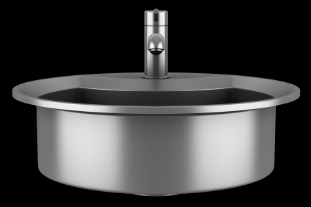modern metal sink isolated on black background Stock Photo - 21917203