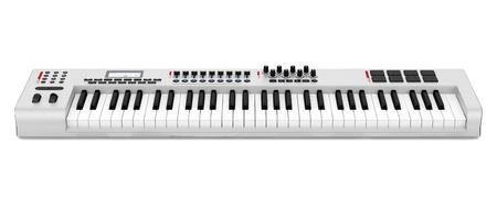 gray synthesizer isolated on white background photo