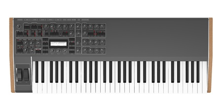 top view of black synthesizer isolated on white background photo